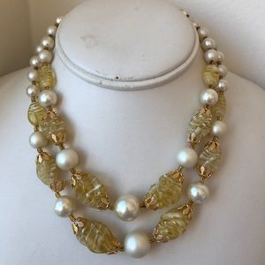 Vintage 2 strand yellow faux pearl beaded necklace